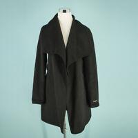 Tahari Medium Size M Coat Black Wool Wrap Open Front Long Jacket NWOT