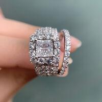 Women Princess Cut White Cz 925 Sterling Silver Wedding Engagement Ring Set 5-12