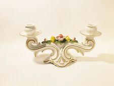 Dresden Porzellan, zweiflammiger Kerzenleuchter weiß, Gold, Rosenblüten