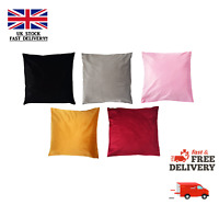 Velvet Cushion Covers Soft Plain Grey Black Golden Mustard Pink Red