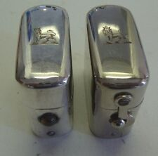 Pair of matching silver plate antique traveling inkwell and vesta case