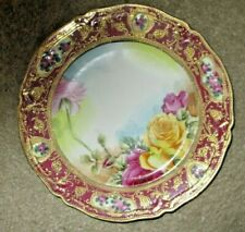 Hand Painted Phyllis Niebur Porcelain Plate Roses on Nippon China