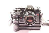 Chinon CE5 35mm SLR Film Camera With 1:17 50mm Lens + Power Winder S
