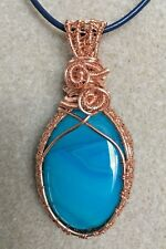Blue Onyx Agate Gemstone Cabochon Wire Wrapped Pendant Necklace
