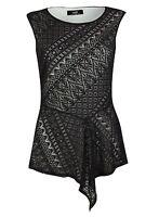 Ex Wallis Black Lace Sleeveless Shell Top Blouse Size 8-20