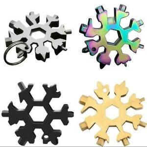 18 In 1 Steel Multi-Tool Snowflake Key Chain Screwdriver Wrench. UK SELLER