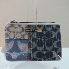 NWT COACH POPPY DENIM PATCHWORK SMALL WRISTLET 45185 DENIM MULTI