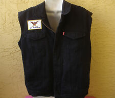 Levi's Black Jean Denim Vest * Large * Lined SAN FRANCISCO Patch Jacket Mens