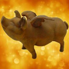 Riesen Sparschwein braun + Eisen Guss Natur Vintage Glücksschwein Spardosen