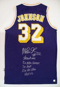Magic Johnson Autographed LA Lakers NBA Basketball Purple Stat Jersey ASI Proof