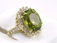Huge Oval Green Peridot Diamond Halo Solitaire Ring 14k Yellow Gold 14.41Ct