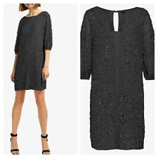 French Connection Size 10 Black Sequin Diana DRESS Evening Puff Sleeve £170