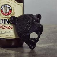 Antique Cast Iron Bottle Opener Bear Pattern Wall Mounted Bar Beer Supplies CO