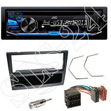 JVC CD USB Autoradio blau + Renault Trafic II Blende schwarz + ISO Radio Adapter