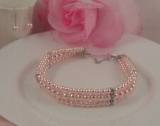 SILVER TONE 3 ROW PINK FAUX PEARL DIAMANTE CRYSTAL CHOKER/NECKLACE EARRINGS SET