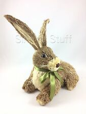 Pier 1 One Sisal Big Ears Bunny Easter Rabbit Bottlebrush Natural Grass Straw