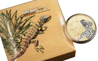 2018 CI Shades Nature Sungazer Lizard 1oz Silver Gilt $5 Proof OGP SKU53325