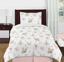 Blush Pink Mint Boho Watercolor Woodland Deer Floral Girl Twin Kid Bedding Set