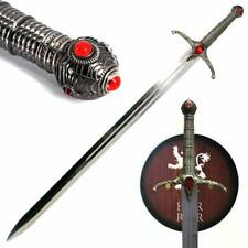 41.5'' Medieval King Sword & Wall Plaque Bronze Plated Cast Metal Faux Jewel NEW