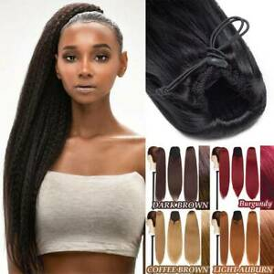 22'' Drawstring Long Ponytail Yaki Pony Tail Hair Extension Clip In Extension US