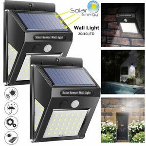 30/40/60 LED Solar Power PIR Motion Sensor Wall Light Garden Path Outdoor Lamp t