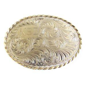 *FINAL MARKDOWN!* Small Sterling Silver Belt Buckle 14k Gold Border, KSD