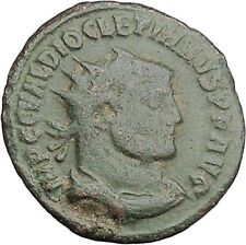 Diocletian receiving Victory from Jupiter 295AD Ancient Roman Coin i46441