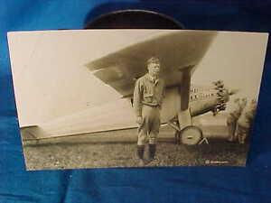 1920s CHARLES LINDBERGH + SPIRIT Of ST LOUIS Airplane REAL PHOTO POSTCARD