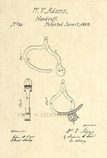 Official Handcuffs 1862 US Patent Art Print - Vintage Antique -Police Cop Law 88