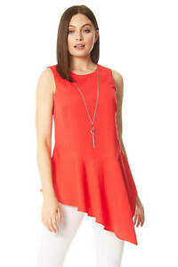 Asymmetric Necklace Trim Peplum Hem Vest Top - Ladies Women Roman Originals
