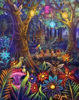 Tea Party Mad Hatter Alice In Wonderland Disney Theme Park Art Painting CBjork
