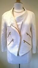 Zara cream boucle tweed Jacket with zip design Size L New with Tags