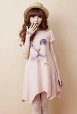 Summer Fashion Dress Cotton Shirt Long Tunic Shift Top Cup Sleeve Round Neck S/M