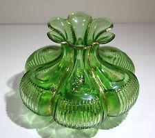 Bohemian Green Color Cut-Glass & Gilt Decor Vase 20th century