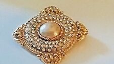 Necklace Gold plated Pearl Vtg Jewelry Ysl Yves Saint Laurent Brooch Pendant