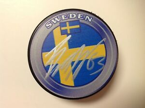 Jesper Bratt Signed Autographed Team Sweden Hockey Puck NJ New Jersey Devils a