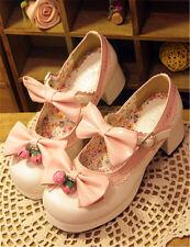Lolita Women Girls Sweet Strawberry Bells Bowknot High Block Heels Shoes Cosplay