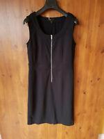 GRACE MIDI SHIFT DRESS Black Jersey Stretch Summer L / UK 12-14 / 40-42 - VGC
