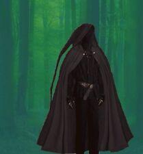 Gothic Medieval Waldläufer Cloak Cape long Tip Hood black M L XL
