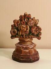 Vintage Doorstop Cast Iron Flower Basket on Base