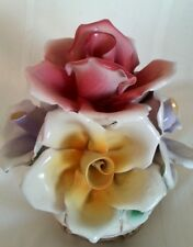 CAPODIMONTE FLOWER ARANGEMENT With 2 Candle Holders Made in Italy