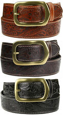 Jefferson - Western Embossed Genuine Leather Belt 1-1/2'' wide, Black Brown Tan