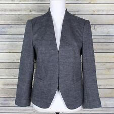 Loft Ann Taylor Herringbone Open Front Blazer Jacket Grey Wool Blend Size Medium