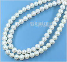 "15"" White Freshwater Pearl Potato Beads 7-8mm #17081"