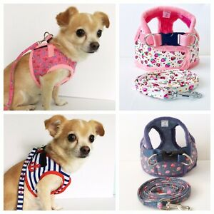 Dog Harness & Lead Coat Puppy Small Breeds Ditsy Print Nautical XS-L