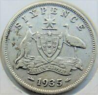 1935 AUSTRALIA George V, silver Sixpence, Grading FINE.