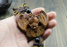 Wood Carving Chinese Feng Shui Wealth Bat Coin Car Pendant Amulet Wooden Crafts