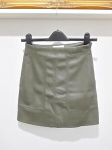 H & M Faux Leather Mini Skirt Olive Green Brown 6 -Big Pockets