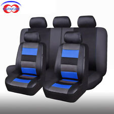 11 Full Set Universal Seat Covers Blue Faux Leather Mesh Comfortable Breathable