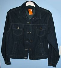 "Women's Large 22"" ID WEAR Denim 100% Cotton Jean Jacket Dark Blue New w/ Defect"